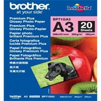 Brother Glossy Photo Paper, foto papír, lesklý, bílý, A3, 297x420mm (A3), 260 g/m2, 20 ks, BP71GA3