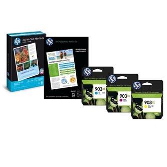 HP 1CC20AE - originální sada inkoustových náplní CMY No.903XL pro HP OfficeJet 6950, Pro 6970, 6960 (825 stran) + 75 ks papíru A4