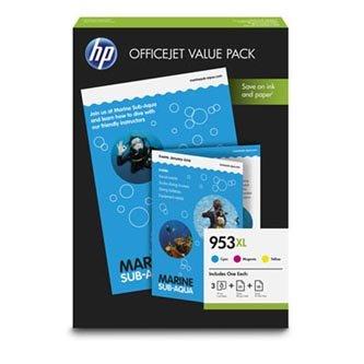 HP 1CC21AE - originální sada inkoustových náplní CMY No.953XL + 75 ks papírů A4 pro HP OfficeJet Pro 8740,8730,8725-8710,8210 (1 600 stran)