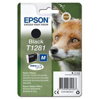 Epson C13T12814012 - originální černá inkoustová náplň T1281 pro Epson Stylus S22, SX125, 420W, 425W, Stylus Office BX305 (5,9 ml)