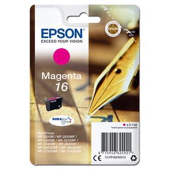 Epson C13T16234012 - originální purpurová inkoustová náplň T162340 pro Epson WorkForce WF-2540WF, WF-2530WF, WF-2520NF, WF-2010 (3,1 ml)