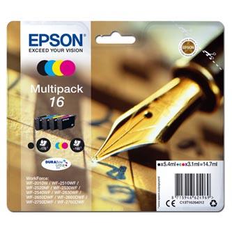 Epson C13T16264012 - originální sada inkoustových náplní CMYK T162640 pro Epson WorkForce WF-2540WF, WF-2530WF, WF-2520NF, WF-2010 (3 x 3,1 ml / 1 x 5,4 ml)