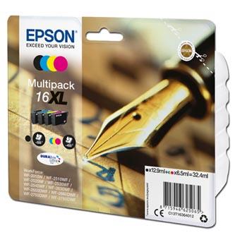Epson C13T16364012 - originální sada inkoustových náplní CMYK T163640, 16XL pro Epson WorkForce WF-2540WF, WF-2530WF, WF-2520NF (3 x 6,5 ml / 1 x 12,9 ml)
