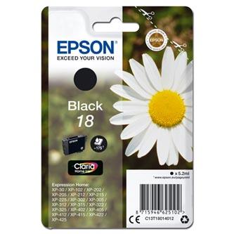 Epson C13T18014012 - originální černá inkoustová náplň T180140 pro Epson Expression Home XP-102, XP-402, XP-405, XP-302 (5,2 ml)