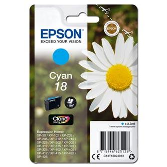 Epson C13T18024012 - originální azurová inkoustová náplň T180240 pro Epson Expression Home XP-102, XP-402, XP-405, XP-302 (3,3 ml)