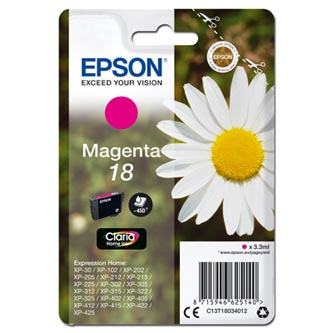 Epson C13T18034012 - originální purpurová inkoustová náplň T180340 pro Epson Expression Home XP-102, XP-402, XP-405, XP-302 (3,3 ml)