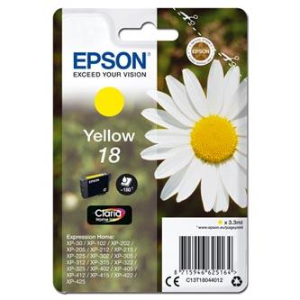 Epson C13T18044012 - originální žlutá inkoustová náplň T180440 pro Epson Expression Home XP-102, XP-402, XP-405, XP-302 (3,3 ml)