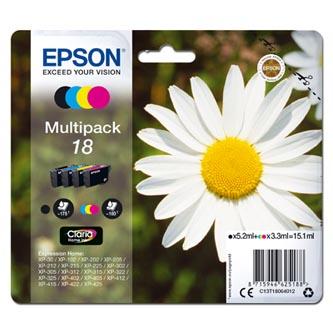 Epson C13T18064012 - originální sada inkoustových náplní CMYK T180640 pro Epson Expression Home XP-102, XP-402, XP-405, XP-302 (3 x 3,3 ml / 1 x 5,2 ml)