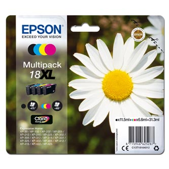Epson C13T18164012 - originální sada inkoustových náplní CMYK T181640, 18XL pro Epson Expression Home XP-102, XP-402, XP-405, XP-3 (3 x 6,6 ml / 1 x 11,5 ml)