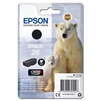 Epson C13T26014012 - originální černá inkoustová náplň T260140 pro Epson Expression Premium XP-800, XP-700, XP-600, 6,2 ml