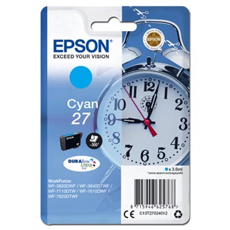 Epson C13T27024012 - originální azurová náplň 27 pro Epson WF-3620, 3640, 7110, 7610, 7620, 3,6 ml
