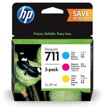 HP P2V32A - originální sada inkoustů HP 711 CMY