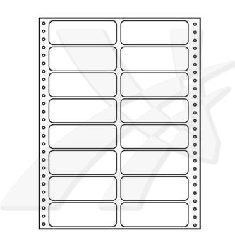 Logo 32117 - tabelační etikety 100 x 36.1 mm, A4, dvouřadé, bílé, 16 etiket, baleno po 25 ks, pro jehličkové tiskárny