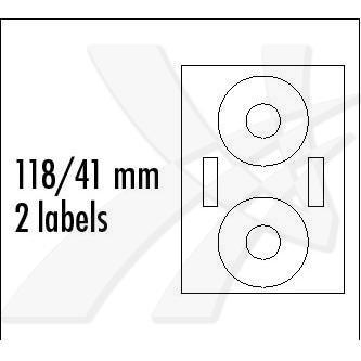 Logo 5765 - etikety na CD 118/41 mm, lesklé, bílé, 2 etikety, 2 proužky, 160g/m2, baleno po 25 ks, pro inkoustové tiskárny