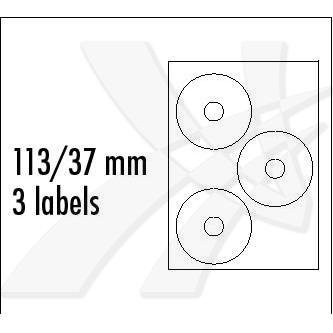Logo 32334 - etikety na CD 113/37 mm, A4, lesklé, bílé, 3 etikety, 160g/m2, baleno po 25 ks, pro inkoustové tiskárny