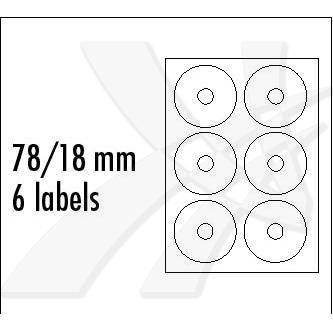 Logo 5099 - etikety na CD 78/18 mm, A4, matné, bílé, 6 etiket, 140g/m2, baleno po 10 ks, pro inkoustové a laserové tiskárny
