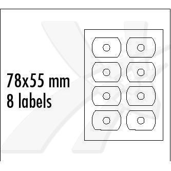 Logo 12378 - etikety na CD 78 x 55 mm, matné, bílé, 140g/m2, baleno po 25 ks, pro inkoustové a laserové tiskárny