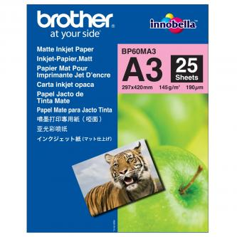 Brother Photo Matt Paper, foto papír, matný, bílý, A3, 297x420mm (A3), 25 ks, BP60MA3, inkoustový