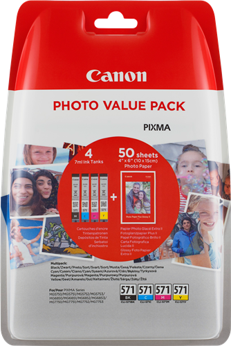Canon CLI-571 C/M/Y/BK + 50x PP-201
