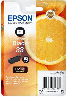 Epson C13T33414012 - originální foto černý inkoust 33, Claria™ Premium, 4,5ml