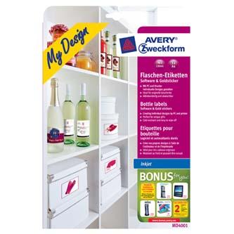 Avery Zweckform MD4001 - A4, 5 listů MD4001 - samolepicí etikety, na láhve, A4, 90x120mm, pro inkoustové tiskárny