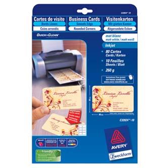 Avery Zweckform C32024-10 vizitky, se zaoblenými okraji, bílé, matné, A4, 260 g/m2, 85x54mm, 10 listů, pro inkoustové tiskárny, O