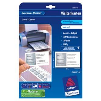 Avery Zweckform C32011-10 vizitky, bílé, matné, A4, 200 g/m2, 85x54mm, 10 listů, pro laserové a inkoustové tiskárny, O
