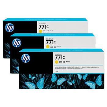 HP B6Y34A, No.771C, originální náplň, yellow, 3ks, HP Designjet Z6200