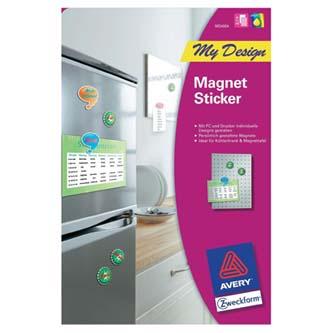 Avery Zweckform MD4004 - magnetický papír, bílý, A4, kolečka 40mm, 24 ks na archu, 2 listy, pro inkoustové tiskárny, O