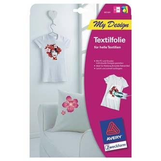Avery Zweckform MD1001 - Zažehlovací papír, pro bílá trička, bílý, A4, 5 listů, pro inkoustové tiskárny