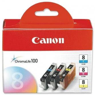 Canon CLI-8CMY - originální sada inkoustů azurový, purpurový, žlutý (0621B029, 0621B026)