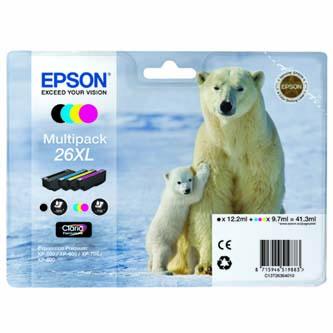 Epson T2636 - originální sada inkoustů Epson C13T26364010, 26 XL, CMYK, 3x9,7/12,2ml, Epson Expression Premium XP-800, XP-700, XP-600
