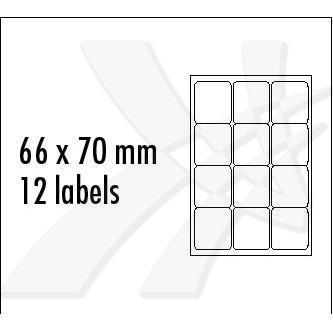 Logo 32255 - etikety 66 x 70 mm, A4, matné, modré, 12 etiket, baleno po 25 ks, pro inkoustové a laserové tiskárny