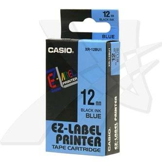 Casio XR-12BU1 - originální páska do tiskárny štítků, Casio, XR-12BU1, černý tisk/modrý podklad, nelaminovaná, 8m, 12mm