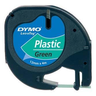 Dymo 59425 - originální páska do tiskárny štítků, Dymo, 59425, S0721590, černý tisk/zelený podklad, 4m, 12mm, LetraTag plastová