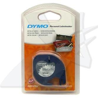Dymo 59429 - originální páska do tiskárny štítků, Dymo, 59429, S0721710, černý tisk/stříbrný podklad, 4m, 12mm, LetraTag metalic