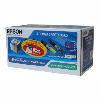 Epson S050268 - originální sada tonerů Epson C13S050268, CMYK, 4000/1500str., Epson AcuLaser C1100, 1100N, CX11N, 11NF, 11NFC