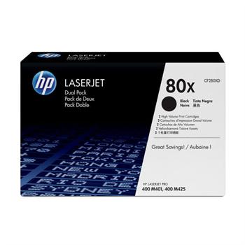 HP CF280XD - originální černý toner HP 80X pro LJ Pro 400 M401, M425 (2 kusy v balení)