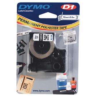 Dymo 16959 - originální páska do tiskárny štítků, Dymo, 16959, S0718060, černý tisk/bílý podklad, 5.5m, 12mm, D1, speciální - pe