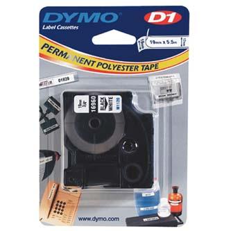 Dymo 16960 - originální páska do tiskárny štítků, Dymo, 16960, S0718070, černý tisk/bílý podklad, 5.5m, 19mm, D1, speciální - pe