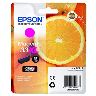 Epson originální ink C13T33634010, T33XL, magenta, 8,9ml, Epson Expression Home a Premium XP-530,630,635,830