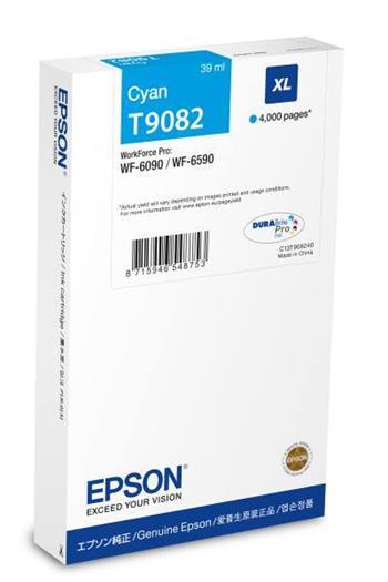 Epson C13T908240 - originální azurová inkoustová náplň pro WF-6xxx Series, 39 ml