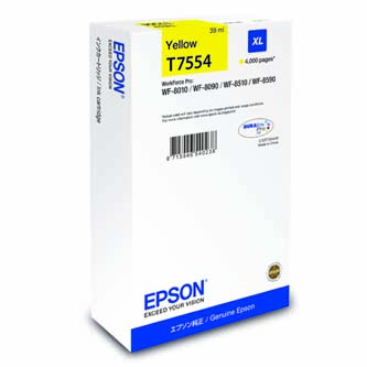 Epson originální ink C13T755440, T7554, XL, yellow, 4000str., 39ml, 1ks, Epson WorkForce Pro WF-8590DWF