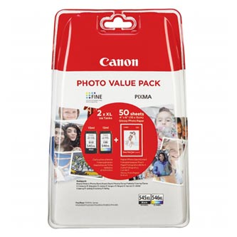 Canon originální ink PG-545 XL/CL-546 XL + 50x GP-501, black/color, 8286B006, Canon Pixma MG2450, 2555, MX495, Promo pac