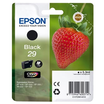 Epson originální ink C13T29814010, T29, black, 5,3ml, Epson Expression Home XP-235,XP-332,XP-335,XP-432,XP-435