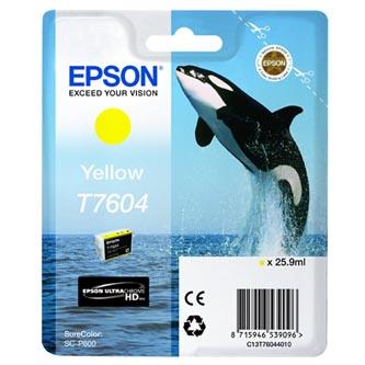 Epson originální ink C13T76044010, T7604, yellow, 25,9ml, 1ks, Epson SureColor SC-P600