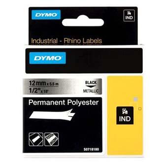 Dymo 18486 - originální páska do tiskárny štítků, Dymo, 18486, černý tisk/metalický podklad, 5.5m, 12mm, RHINO permanentní polye