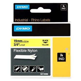 Dymo 18491 - originální páska do tiskárny štítků, Dymo, 18491, černý tisk/žlutý podklad, 3.5m, 19mm, RHINO nylonová flexibilní